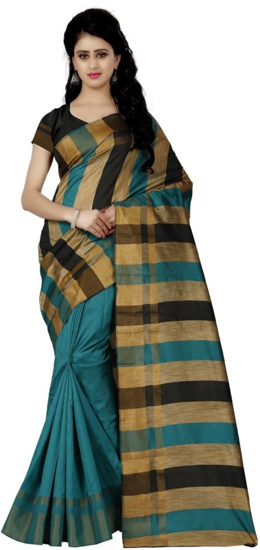 Trendz Style Striped Fashion Silk Cotton Blend Saree(Blue, Gold)