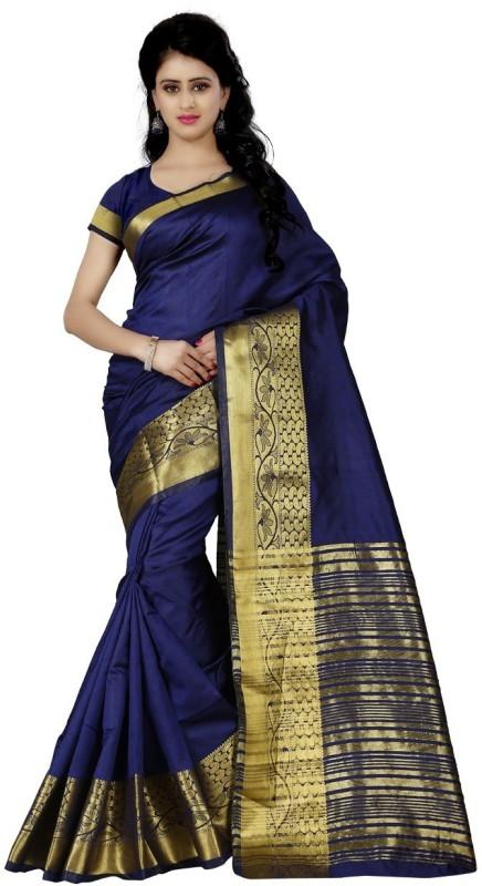 Trendz Style Striped Fashion Jacquard Saree(Dark Blue)