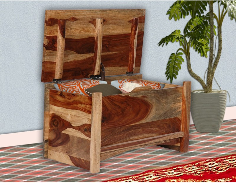 Vintej Home Trunk Box Solid Wood Box(Finish and Fabric Color - Natural)