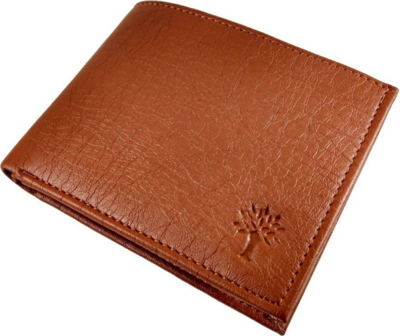 wenzest Men Tan Genuine Leather Wallet(10 Card Slots)