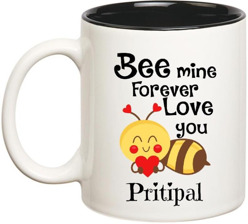 Huppme Love You Pritipal Bee mine Forever Inner Black Ceramic Mug(350 ml)