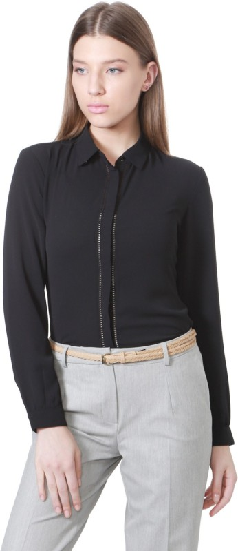 Allen Solly Women Solid Formal Black Shirt