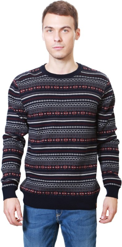Peter England Self Design Crew Neck Casual Men Black, Red Sweater