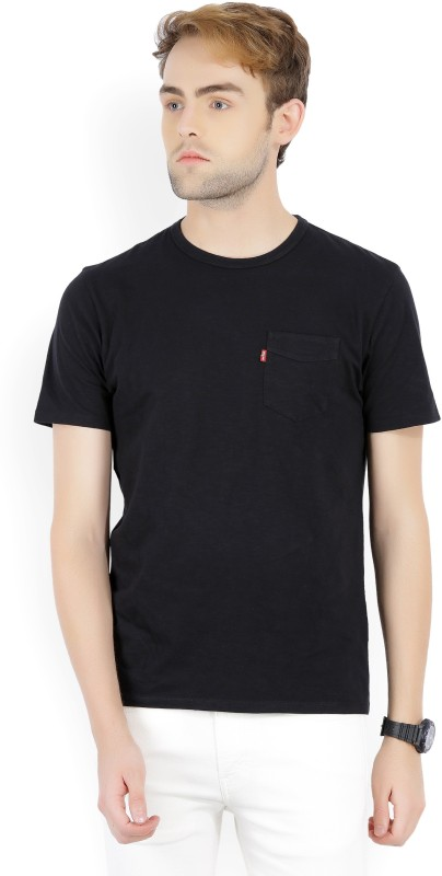 Levis Solid Mens Round Neck Black T-Shirt