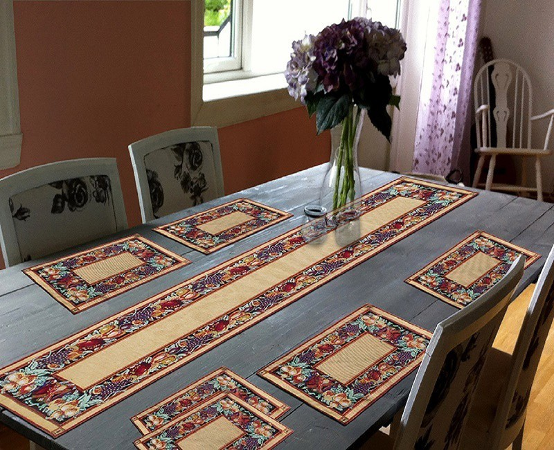 Glamkart Brown Table Linen Set(Pack of 7)