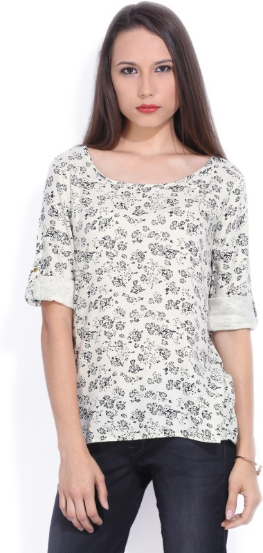 Bossini Casual Roll-up Sleeve Printed Women White Top
