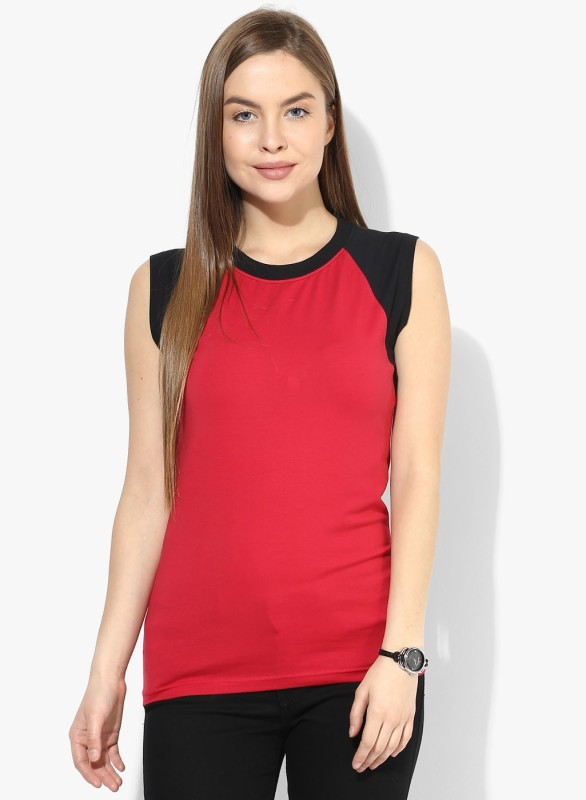 Espresso Casual Sleeveless Solid Women Red Top