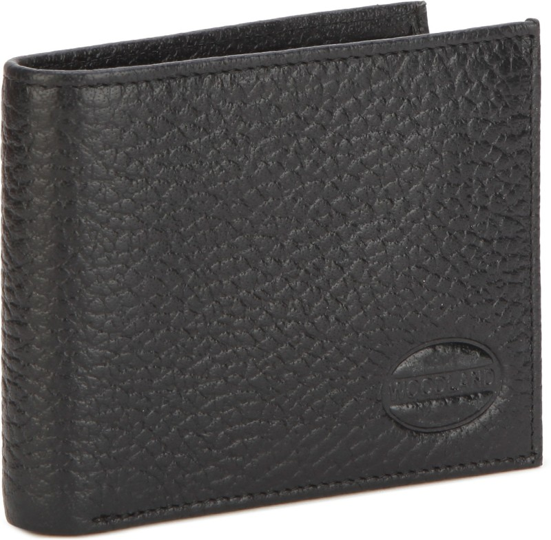Woodland Men Black Genuine Leather Wallet(8 Card Slots)