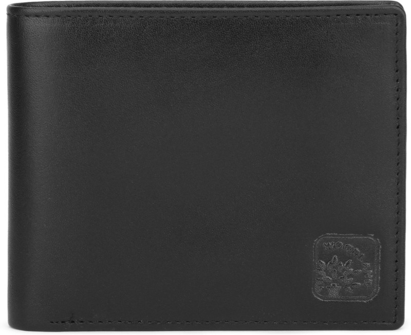 Woodland Men Black Genuine Leather Wallet(6 Card Slots)