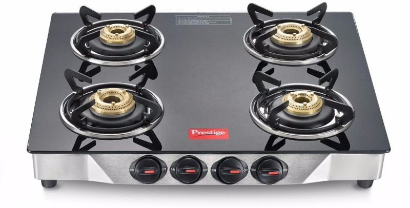Prestige Deluxe Glass, Stainless Steel Manual Gas Stove(4 Burners)