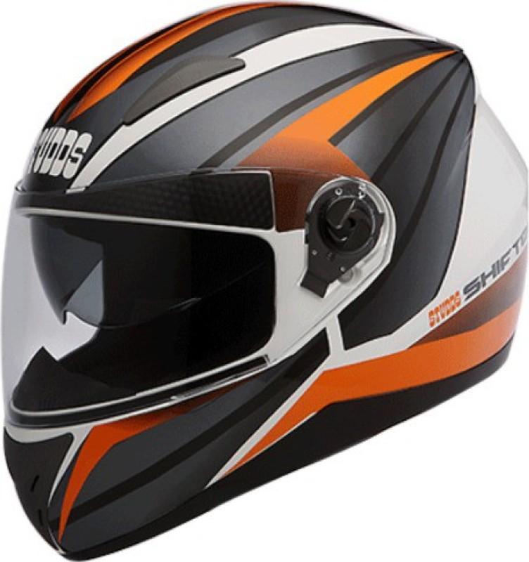 Studds SHIFTER D2 DECOR Motorbike Helmet(D2 WHITE N10 ORANGE)