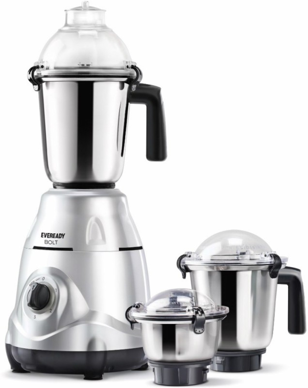 Eveready Bolt 750 W Mixer Grinder(Silver, 3 Jars)
