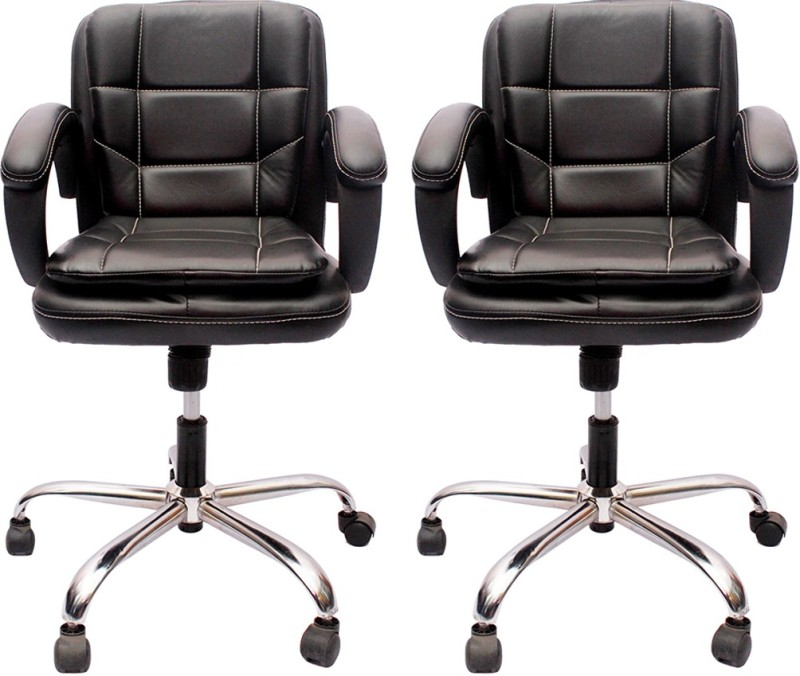 V J Interio Leatherette Office Executive Chair(Black, Set of 2)