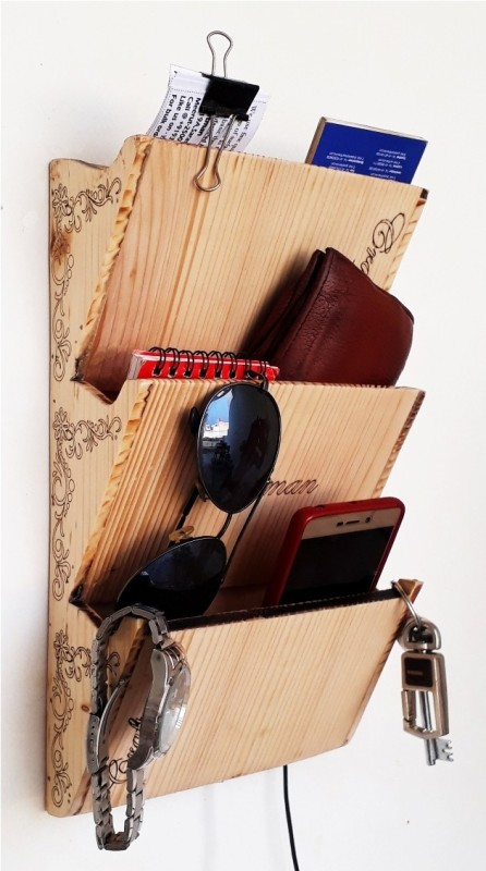 craftman Craftman Pockets Personal Organizer Wall Mounted Shelf Remote Holder Mobile Docking Stand Wooden Wall Shelf(Number of Shelves - 3, Yellow)