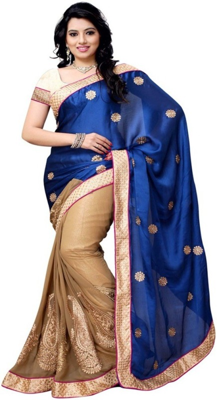 Pragati Fashion Hub Embroidered Fashion Satin, Georgette Saree(Blue, Beige)
