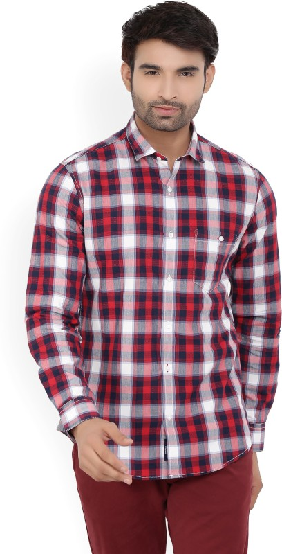 Peter England University Men's Checkered Casual Red, White, Blue Shirt