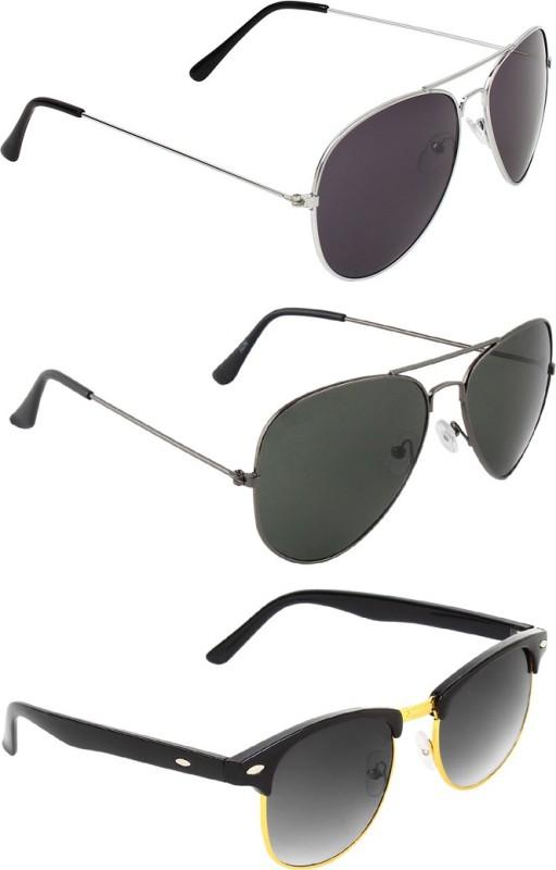 Zyaden Aviator, Aviator, Clubmaster Sunglasses(Black, Black, Black) image