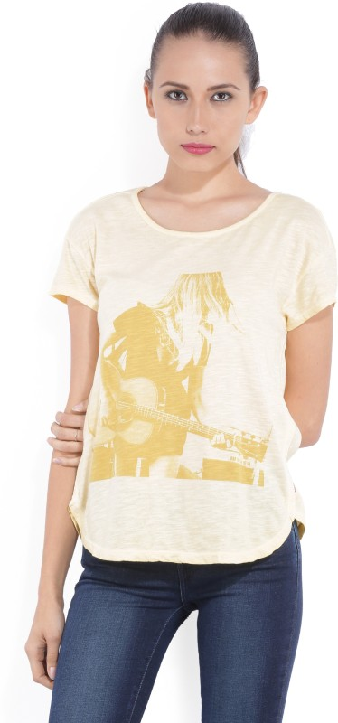 Levis Printed Womens Round Neck Yellow T-Shirt