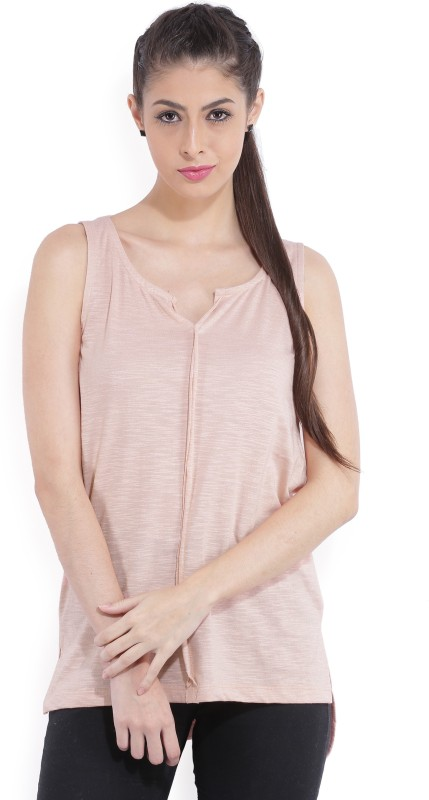 Bossini Casual Sleeveless Solid Women Pink Top