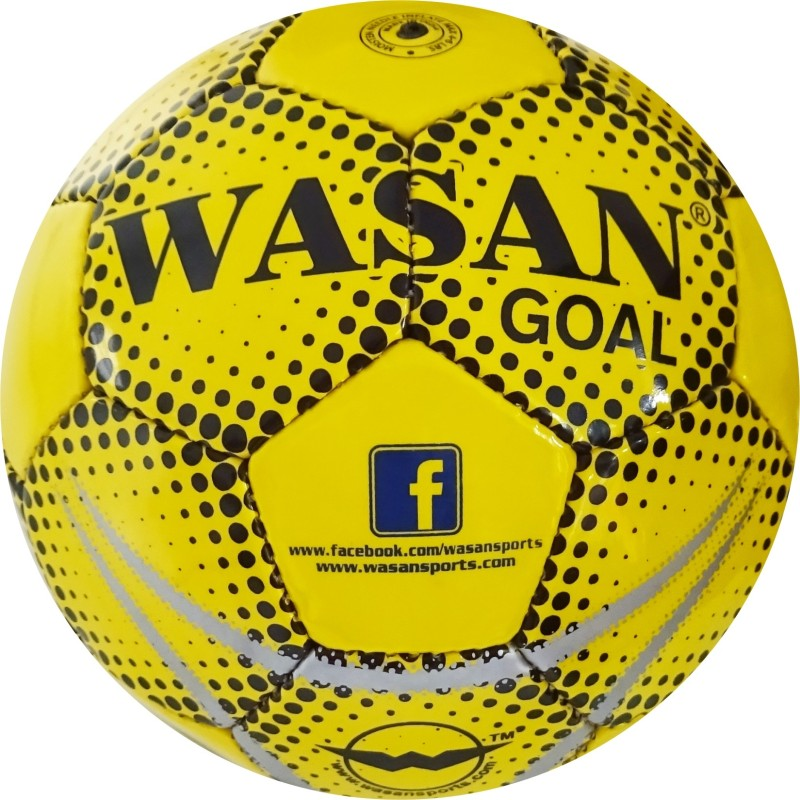 WASAN Goal-Yellow/Black Football - Size: 5(Pack of 1, Yellow, Black)