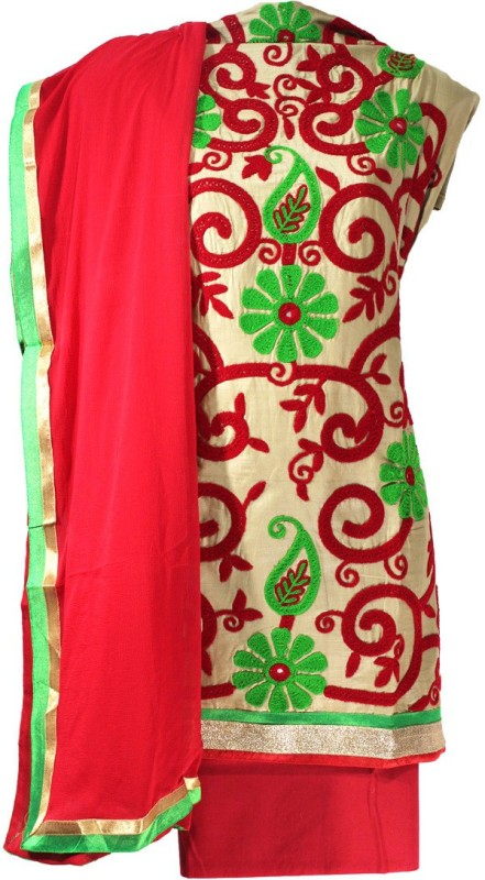 Lattice Cotton Silk Blend Embroidered Salwar Suit Dupatta Material(Un-stitched)