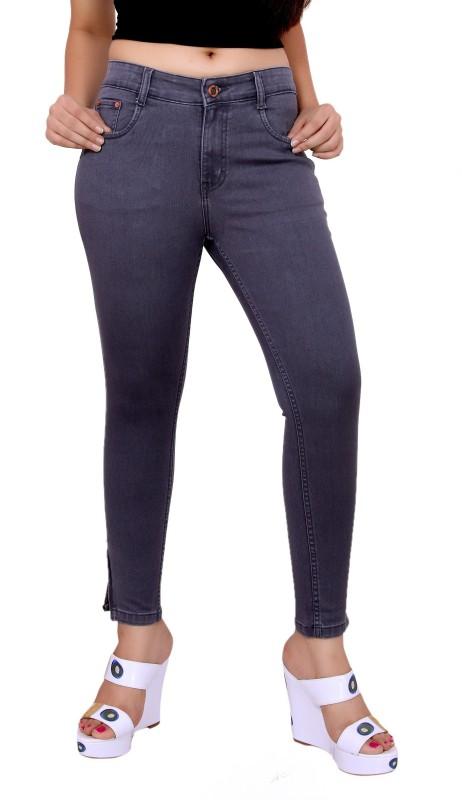 Fck-3 Fck-3 High Waist Ankle Fit Jeans Pant for Women Regular Women Grey Jeans