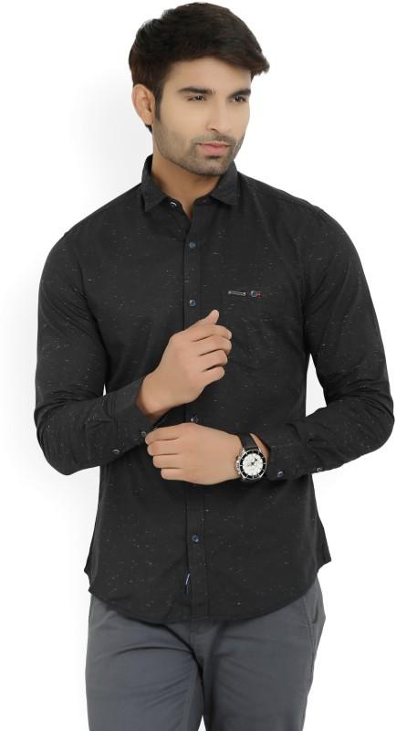 Peter England University Men's Self Design Casual Black, Green Shirt