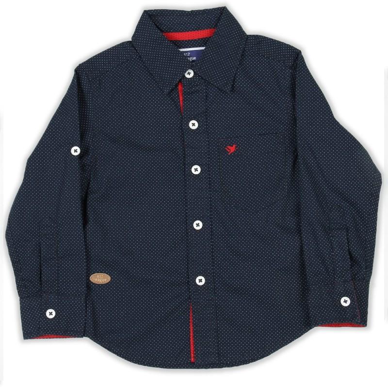 612 League Boys Printed Casual Blue Shirt