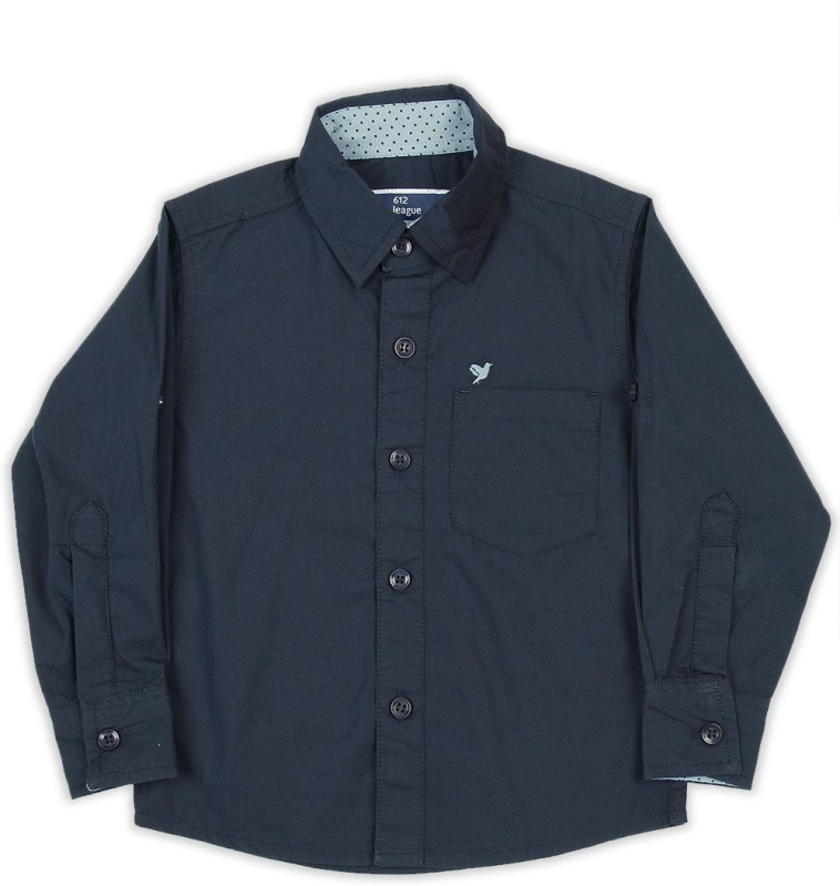 612 League Boys Solid Casual Dark Blue Shirt
