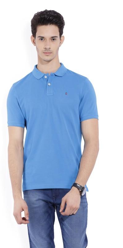 LP Louis Philippe Solid Mens Polo Neck Light Blue T-Shirt