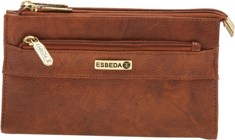 Esbeda Women Brown Artificial Leather Wallet(14 Card Slots)
