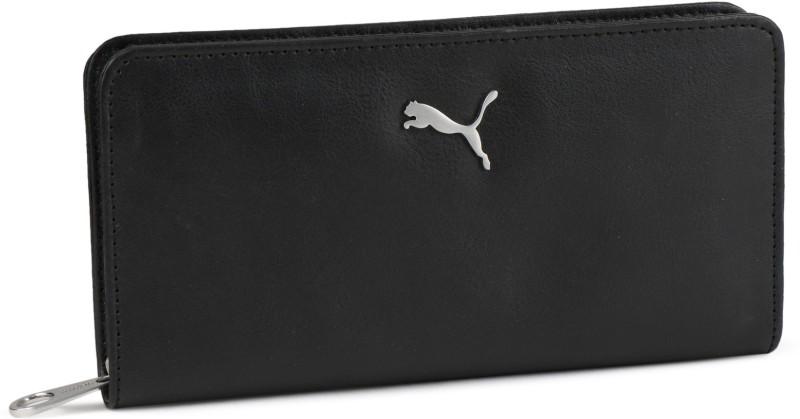 Puma Women Black Artificial Leather Wallet(6 Card Slots)