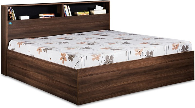 Delite Kom Urban Engineered Wood Queen Bed With Storage(Finish Color - Acacia Dark & Black)