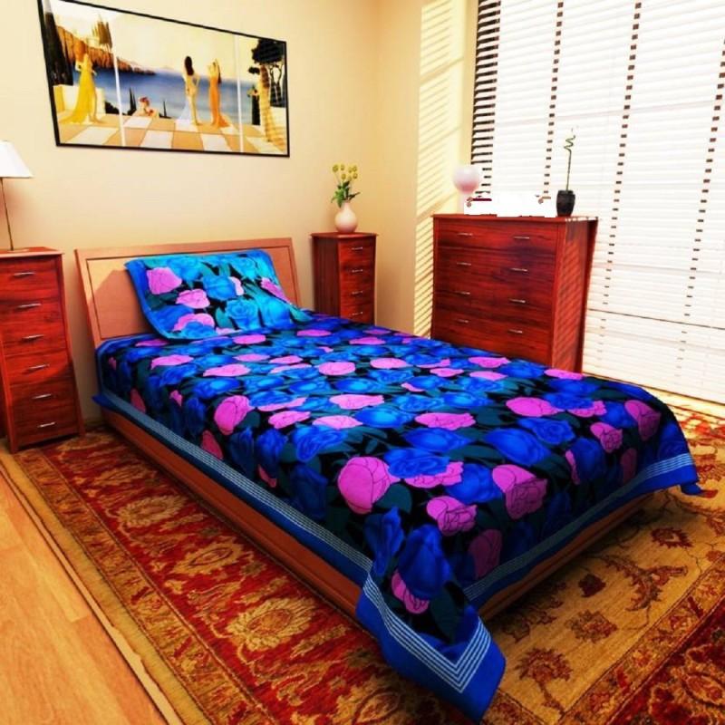 HnD Floral Single Blanket Blue, Pink(Adults Sleep Sack, 1 Single Bedsheet + 1 Pillow Cover)