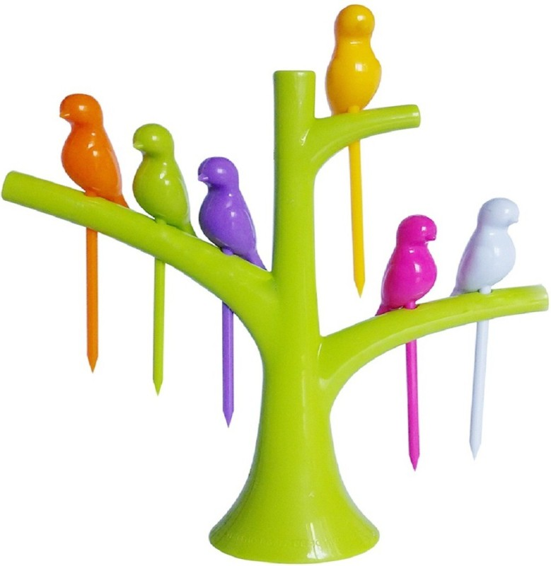 Birdie Birdie toothpick for kids Disposable PP (Polypropylene) Fruit Fork, Dessert Fork, Baby Fork Set(Pack of 6)