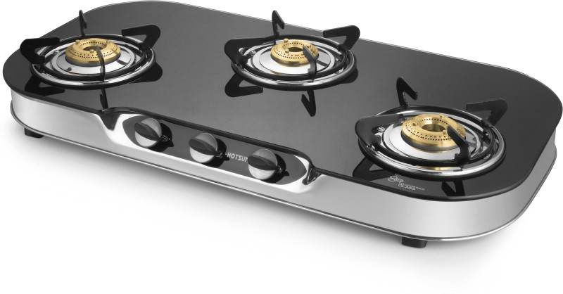 Hotsun Stainless Steel, Glass Manual Gas Stove(3 Burners)