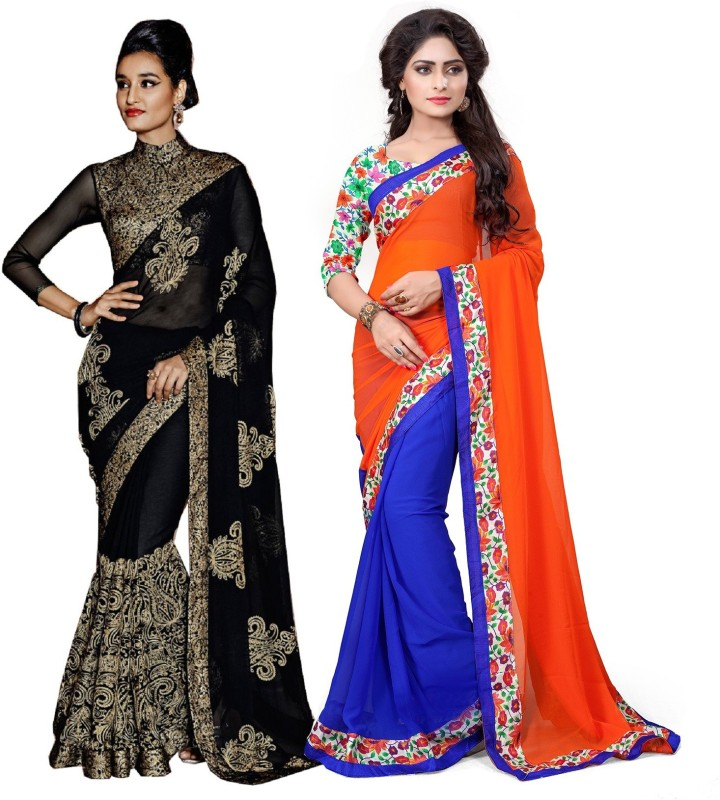 Rola Trendz Embroidered, Geometric Print, Self Design Fashion Heavy Georgette, Lace Saree(Pack of 2, Multicolor)