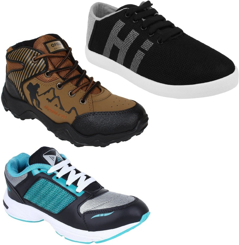 Chevit Men's Trio Pack Of 3 Running Shoes With, Sneakers For Men(Multicolor)