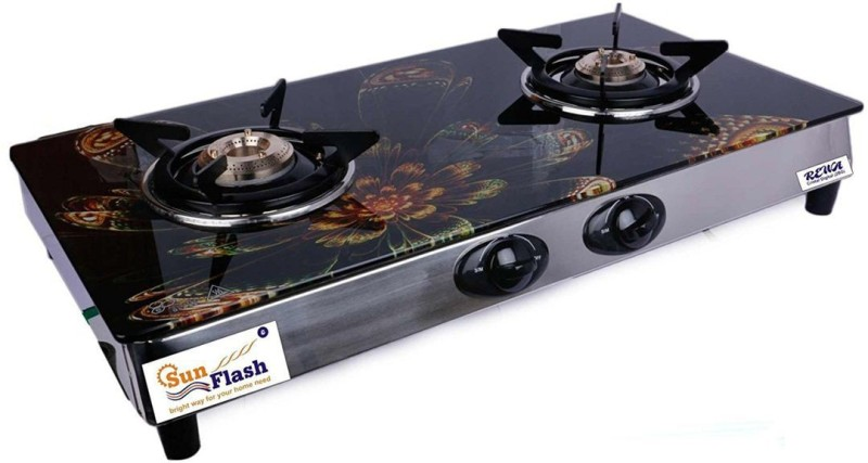 Sunflash Reva Digital Auto Ignition Crystal Automatic Gas Stove(2 Burners)