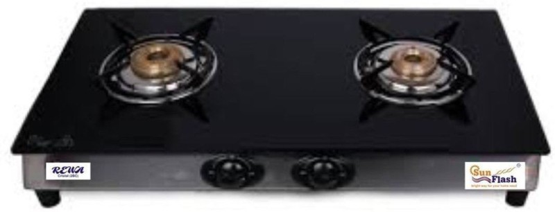 Sunflash Crystal Black Reva Auto Ignition Crystal Automatic Gas Stove(2 Burners)