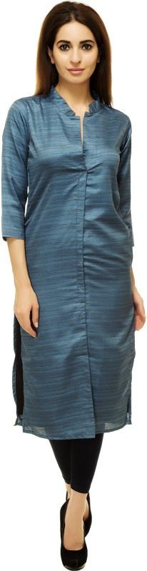 Adyuth Women Self Design Frontslit Kurta(Blue)