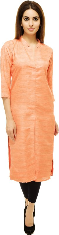 Adyuth Women Self Design Frontslit Kurta(Orange)