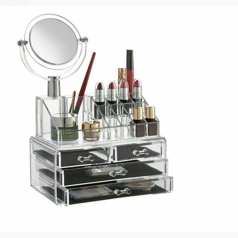 NK-STORE Double Layer Beauty Vanity Jewellery Clear Acrylic Make Up Cosmetic Display Stand And Organizer Rack With Mirror Plastic Wall Shelf(Number of Shelves - 4, Clear)