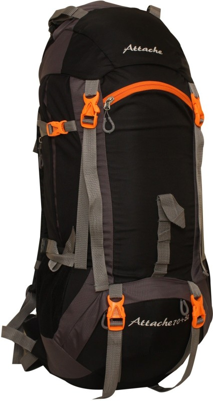Attache 1026R Hiking Backpack (Black) With Rain Cover Rucksack - 75 L(Black, Grey)