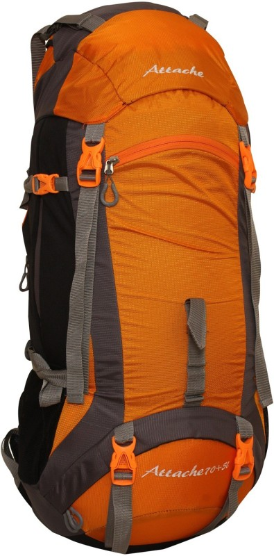 Attache 1026R Hiking Backpack (Orange) With Rain Cover Rucksack - 75 L(Orange, Grey)