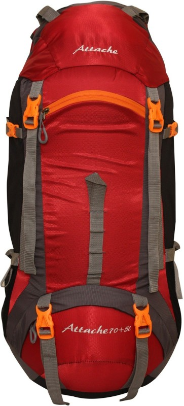 Attache 1026R Hiking Backpack (Red) With Rain Cover Rucksack - 75 L(Red, Grey)