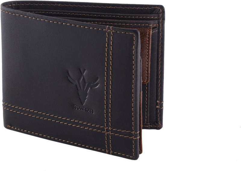 Krosshorn Men Black Genuine Leather Wallet(6 Card Slots)