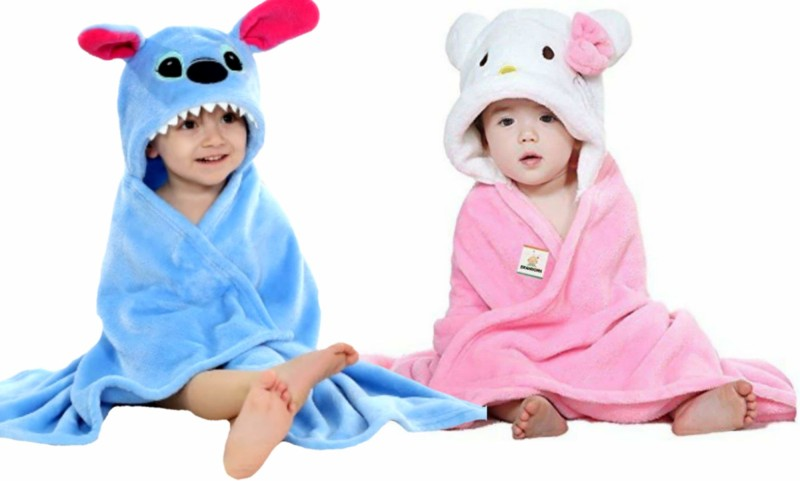 BRANDONN Blue, Pink Free Size Bath Robe(2 Bath Robes, For: Baby Boys & Baby Girls, Blue, Pink)