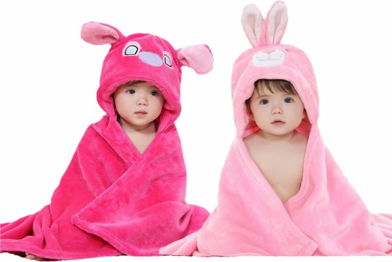 BRANDONN Pink, HOTPINK Free Size Bath Robe(2 Bath Robes, For: Baby Boys & Baby Girls, Pink, HOTPINK)