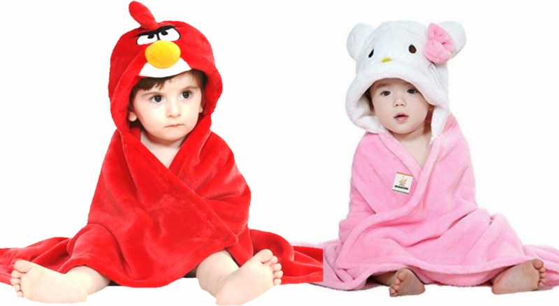 BRANDONN Pink, Red Free Size Bath Robe(2 Bath Robes, For: Baby Boys & Baby Girls, Pink, Red)